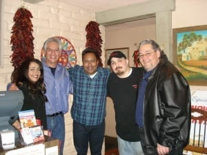 (L to R:) Co-Owners, Karen and Rudy Guerrero; Show Host, Ali Khan; Kitchen Manager, Dominic Duran; and Larry Gonzales, Executive Chef and General Manager.
