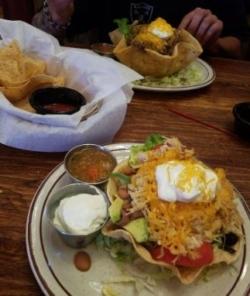 Lunch Taco Salad off Papa Felipe's Senior discount menu, Albuquerque NM